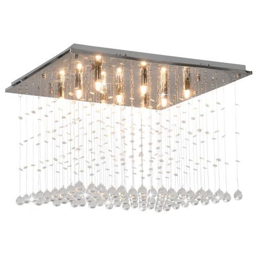 vidaXL Deckenleuchte mit Kristallperlen Silbern Cubic G9