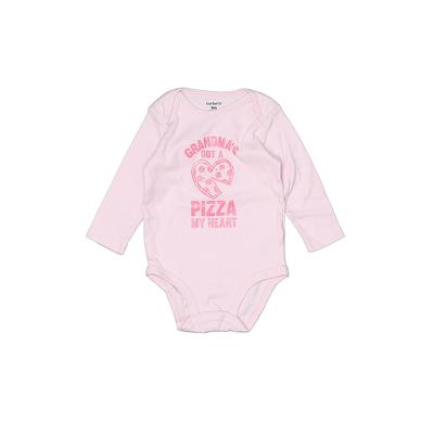 Carter's Long Sleeve Onesie: Pink Bottoms - Size 9 Month