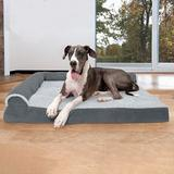 FurHaven Two-Tone Deluxe Chaise Orthopedic Dog Bed w/Removable Cover, Stone Gray, Jumbo Plus