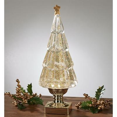 Glitter Swirl LED Christmas Tree Table Accent Gold , Gold