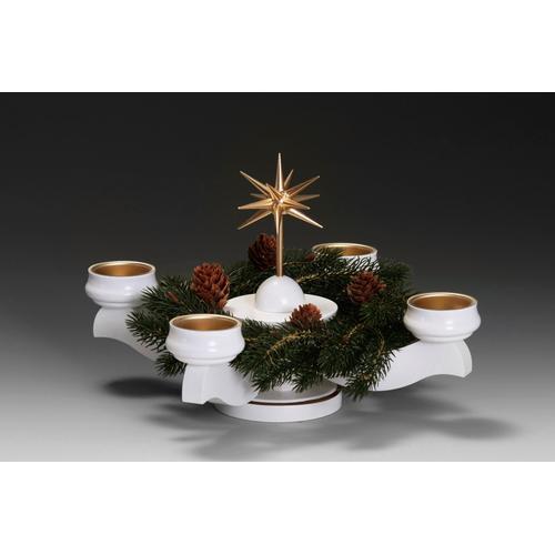 Albin Preissler Adventsleuchter Weihnachtsstern, Ø 22 cm, weiß, inkl. Tannenkranz weiß Kerzenhalter Kerzen Laternen Wohnaccessoires