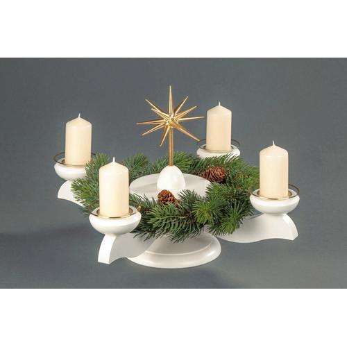 Albin Preissler Adventsleuchter Weihnachtsstern, Ø 29 cm, weiß, inkl. Tannenkranz weiß Kerzenhalter Kerzen Laternen Wohnaccessoires