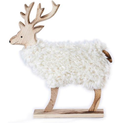 CHRISTMAS GOODS by Inge Tierfigur, Hirsch mit Kunstfell beige Tierfigur Tierfiguren Figuren Skulpturen Wohnaccessoires