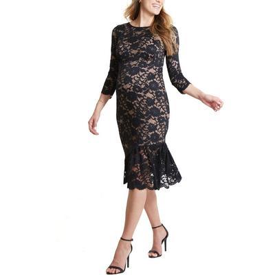 Lace Flounce Hem Maternity Dress - Black - Ingrid & Isabel Dresses