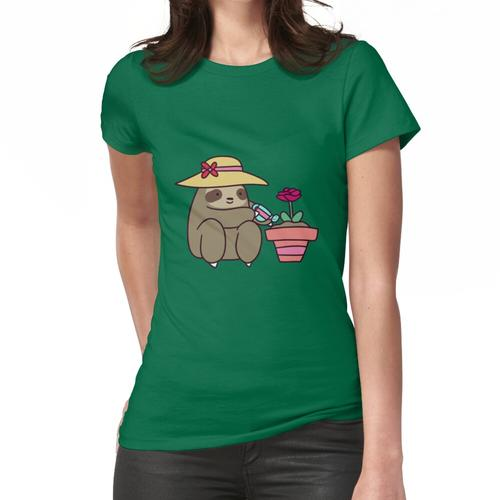 Bewässerung seiner Topfblume Pflanze. Frauen T-Shirt
