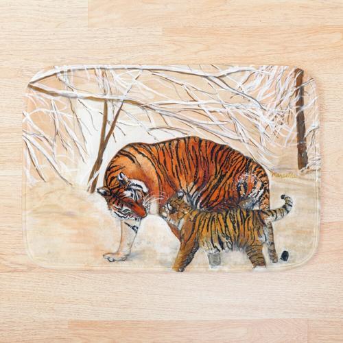 Tiger im Winter Badematte