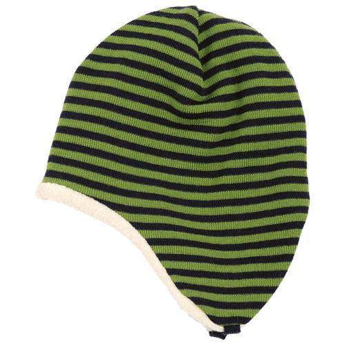 Reiff - Kid's Ohrenmütze Ringel Gr 42/44 schwarz/oliv/grün