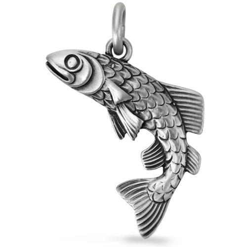 Anhänger Silber patiniert Fischer