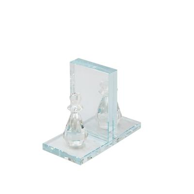 Crystal Chess Piece Bookends, Clear - Sagebrook Home 14462-02