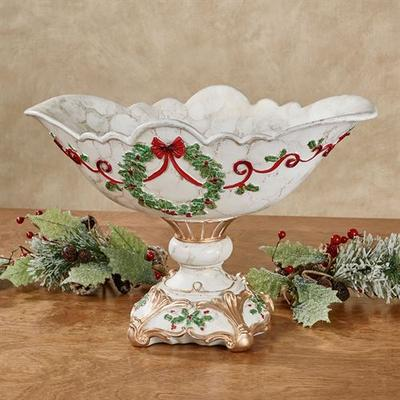Holly Delight Decorative Centerpiece Bowl Red , Red