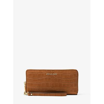 Michael Kors Travel Crocodile-Embossed-Leather Continental Wristlet Brown One Size