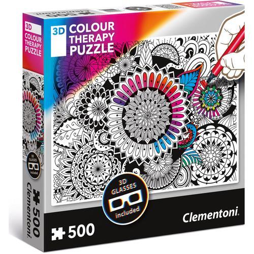 Clementoni Puzzle Colour Therapy - Blumen, mit 3D Effekt; Made in Europe bunt Kinder Ab 9-11 Jahren Altersempfehlung