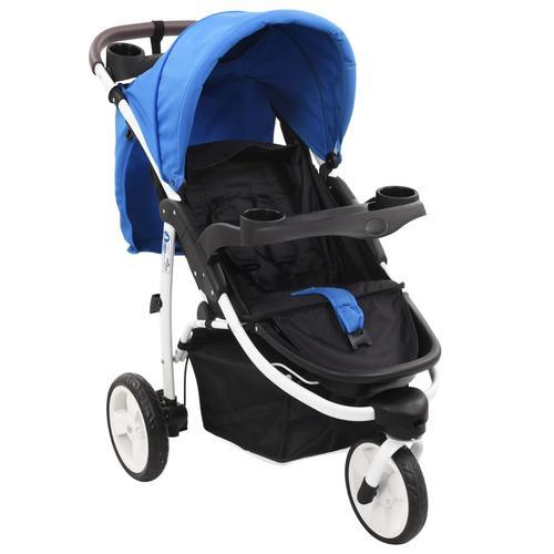 vidaXL 3-Rad-Kinderwagen Blau und Schwarz