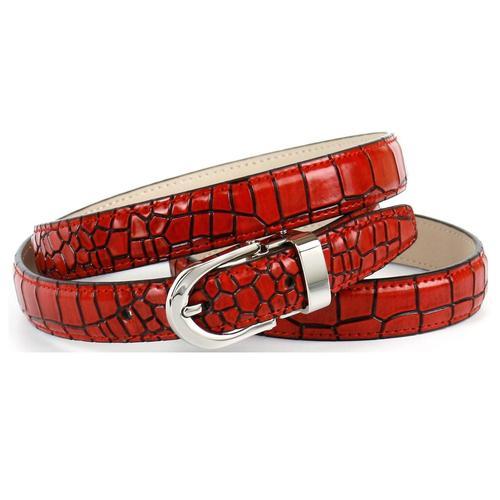 Anthoni Crown Ledergürtel, mit Krokomuster, leicht bombiert rot Damen Ledergürtel Gürtel Accessoires