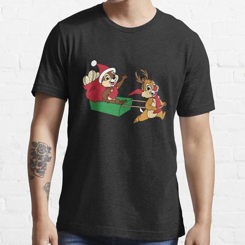 Chip und Dale auf einem Weihnachtsschlitten Essential T-Shirt