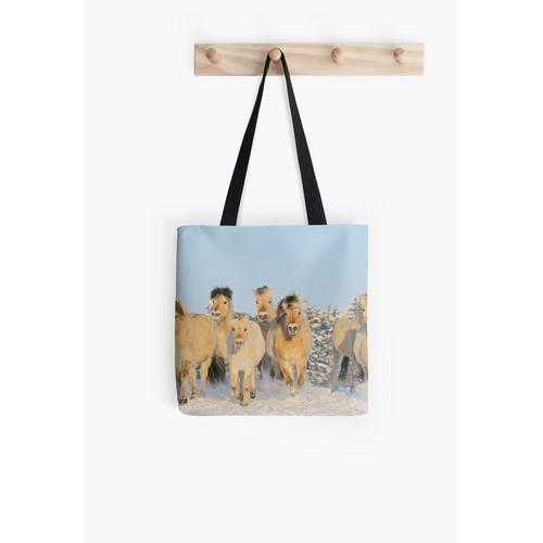 Norwegische Pferde im Winter Tasche