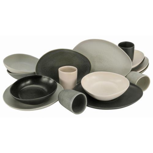 CreaTable Kombiservice Pietra, (Set, 16 tlg.), jedes Stück ein Unikat bunt Geschirr-Sets Geschirr, Porzellan Tischaccessoires Haushaltswaren