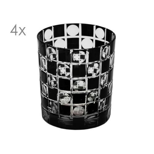 SALE 4er Set Kristallgläser Diego, schwarz, handgeschliffenes Glas , Höhe 9 cm, Füllmenge 0,25 Liter