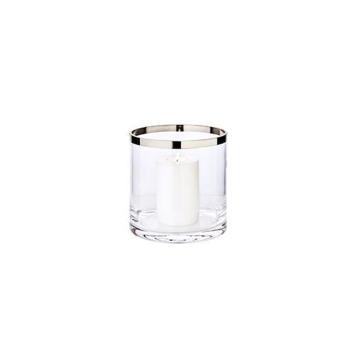 Windlicht Molly, mundgeblasenes Kristallglas mit Platinrand, Höhe 18 cm, Durchmesser 18 cm