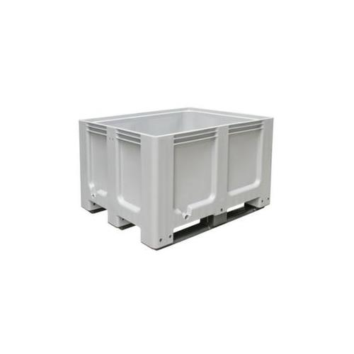 Großbehälter, HxLxB 760x1000x1200mm, 610l, PE, grau, Wände geschlossen, Boden geschlossen, m. 3 Kufen