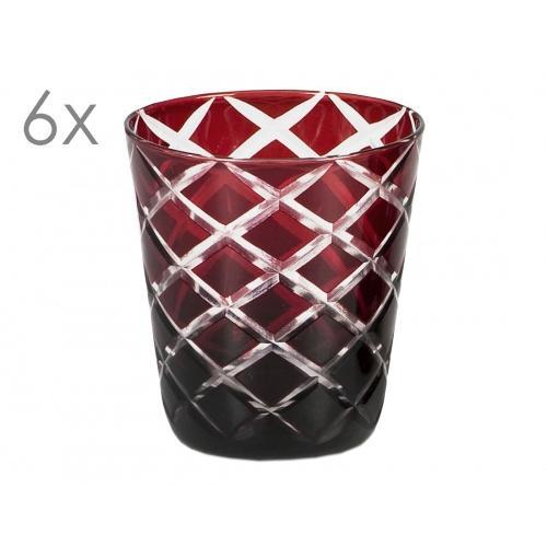 6er Set Kristallgläser Dio, rot, handgeschliffenes Glas , Höhe 10 cm, Füllmenge 0,23 Liter