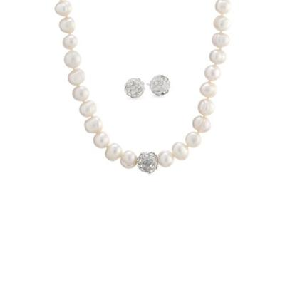 Belk Silverworks Silver Sterling Silver Crystal Stud Earrings and Pearl Necklace Boxed Set