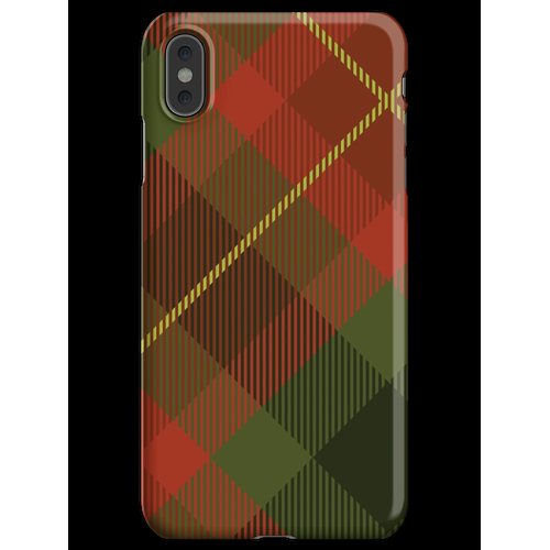 70er Jahre rote und grüne Plaid Couch Muster iPhone XS Max Handyhülle