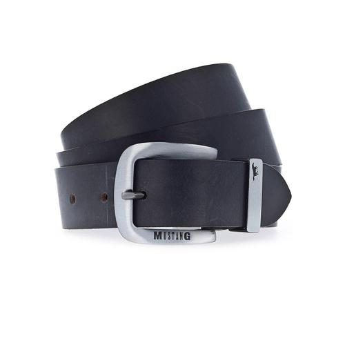 MUSTANG Ledergürtel, bis 130 cm, mit charakteristischer Markenprägung schwarz Damen Ledergürtel Gürtel Accessoires