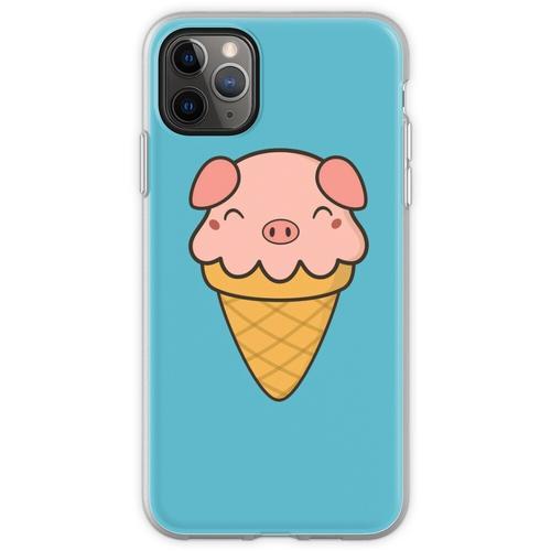 Appetitanregende Kawaii Cute Pig Ice Cream Flexible Hülle für iPhone 11 Pro Max