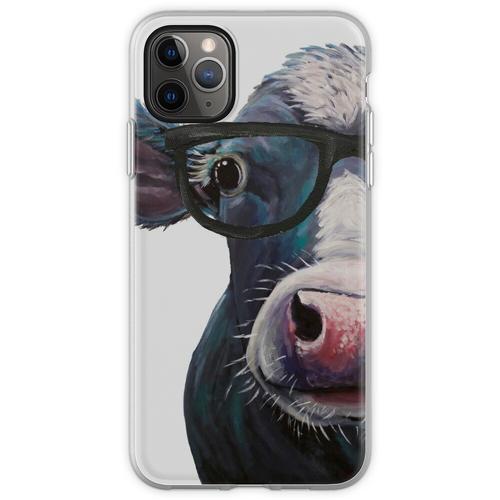 Kuh mit Brille Kunst, Clara Belle bunte Kuh mit Brille Flexible Hülle für iPhone 11 Pro Max