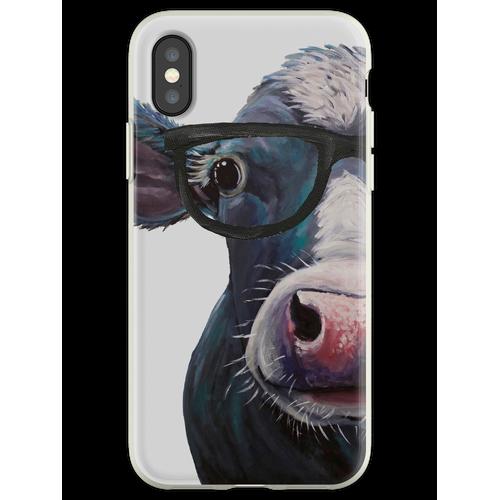 Kuh mit Brille Kunst, Clara Belle bunte Kuh mit Brille Flexible Hülle für iPhone XS