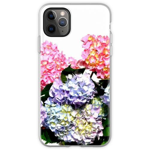 Rosa, lila und blaue Hortensien in Kristallvase Flexible Hülle für iPhone 11 Pro Max