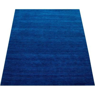 Paco Home Teppich Atlas 100, rechteckig, 14 mm Höhe, Kurzflor-Gabbeh, aus Baumwolle Einfarbig, Wohnzimmer blau Wohnzimmerteppiche Teppiche nach Räumen