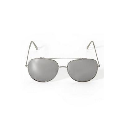 Boston Proper - Mirrored Aviator Sunglasses - Silver - One Size