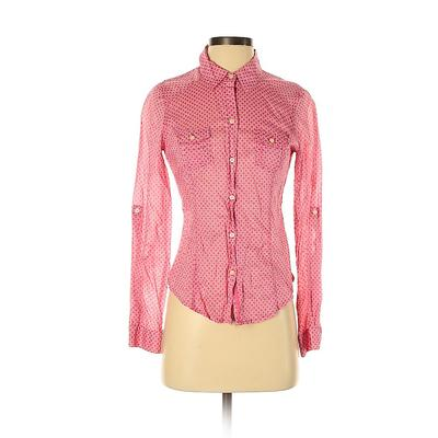Old Navy Long Sleeve Button Down Shirt: Pink Print Tops – Size Small