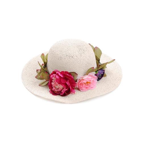 Alba Moda, Hut mit Blumenkranz, weiß