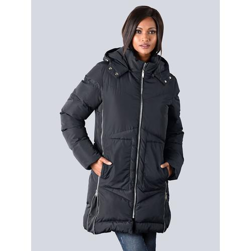 Alba Moda, Mantel mit zusätzlichen Reißverschlüssen an der Seitennaht, blau