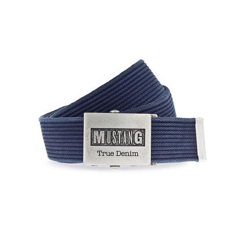MUSTANG Stoffgürtel, Mit Koppelschließe im Used Look blau Damen Stoffgürtel Gürtel Accessoires