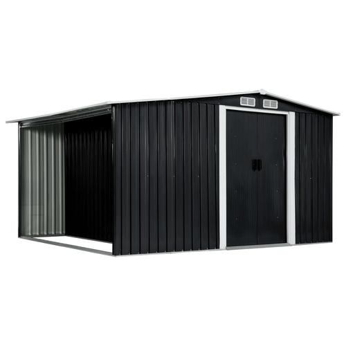 vidaXL Gerätehaus mit Schiebetüren Anthrazit 329,5×259×178 cm Stahl
