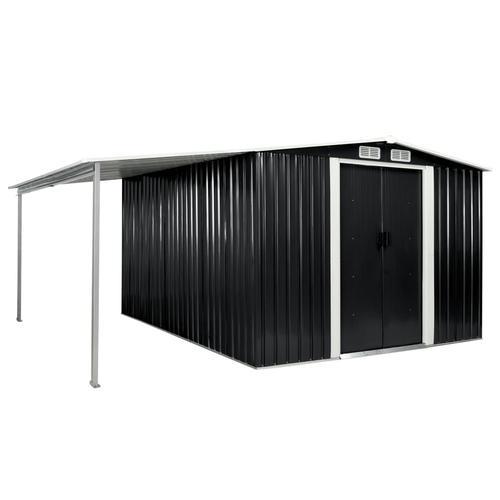 vidaXL Gerätehaus mit Schiebetüren Anthrazit 386×312×178 cm Stahl