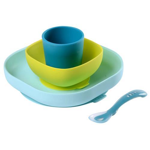 Beaba 4-tlg. Babygeschirr-Set Silikon Blau und Grün