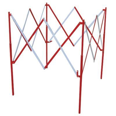 Barrière de regard extensible en acier rouge/blanc 1 m - VISO - BAR002RB