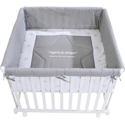 roba Laufgitter Rock Star Baby 2, 100x100, bis 1 kg, mit Laufgittereinlage weiß Babygitter
