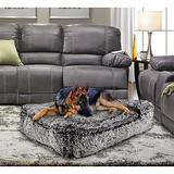 Bessie + Barnie Sicilian Rectangle Pillow Dog Bed w/Removable Cover, Midnight Frost, Large