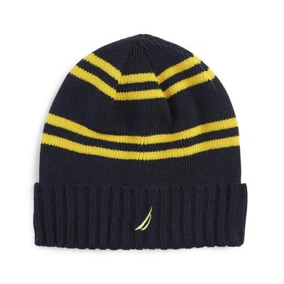Nautica Men's Ribbed Knit Striped Cuff Hat Navy, OS
