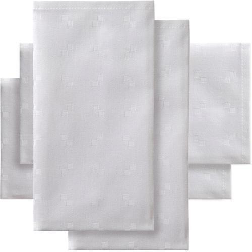 DDDDD Stoffserviette Quadrat, Damast, 50x50 cm, mit kleinen dezenten Quadraten weiß Stoffservietten Tischwäsche