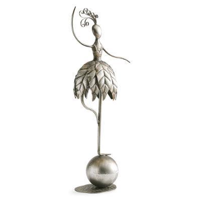 Dancing Garden Girl Outdoor Statues - Silver, Silver Flower - Grandin Road