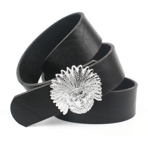 Anthoni Crown Ledergürtel, genarbt, Schließe mit Indianerkopf schwarz Damen Ledergürtel Gürtel Accessoires