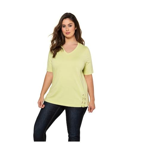 Große Größen T-Shirt Damen (Größe 50 52, zitronengras) | Ulla Popken T-Shirts | Baumwolle, V-Ausschnitt
