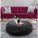 Bessie + Barnie Signature Extra Plush Faux Fur Shags Bagel Dog & Cat Bed, Wolfhound Grey, Small